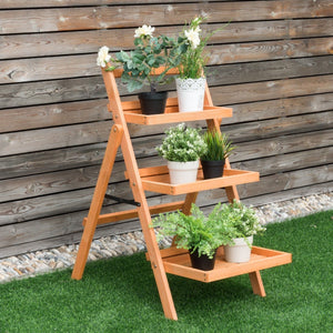 3 Tier Outdoor Wood Flower Folding Pot Shelf Stand - NutritionalInstitute.com