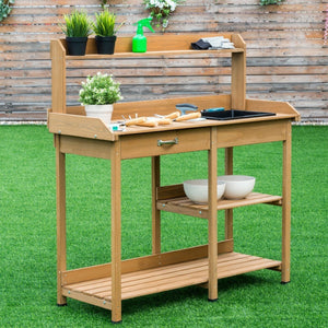 Garden Wooden Planting Potting Bench Table with Shelves - NutritionalInstitute.com