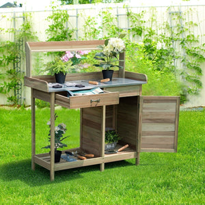 Outdoor Garden Wooden Work Station Potting Bench
