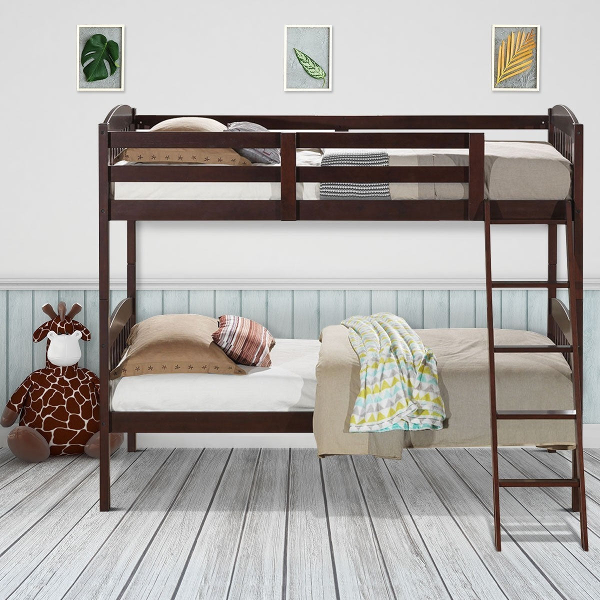 Solid Wood Twin Bunk Beds With Detachable Kids Ladder Hw58907 Wc