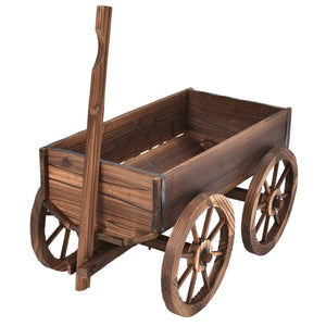 Wood Wagon Planter Pot Stand with Wheels - NutritionalInstitute.com