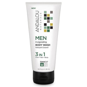 Andalou Naturals CannaCell Men's 3in1 Invigorating Bdy Wash 8floz 234153 OC