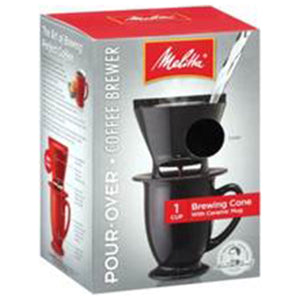 Melitta Black Pour-Over Coff Brewer Cone with Ceramic Mug 1 cup 227319 OC - NutritionalInstitute.com