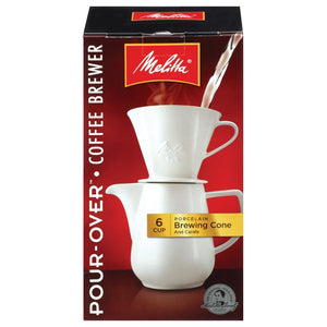 Melitta Porcelain Pour-Over Coff Brewer Cone with Carafe 6 cup 227321 OC - NutritionalInstitute.com