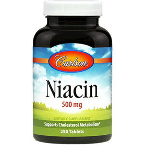 Carlson Labs Niacin Supports Normal Metabolism Of Fats 500 Mg 250 Tablets