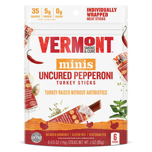 Vermont Smoke & Cure Uncured Pepperoni Turkey Mini Stks 6 count 231337 OC - NutritionalInstitute.com
