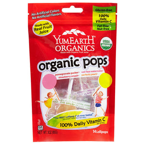 YumEarth Assorted Fruit Flavor Organic Lollipops 3 oz 220389 OC