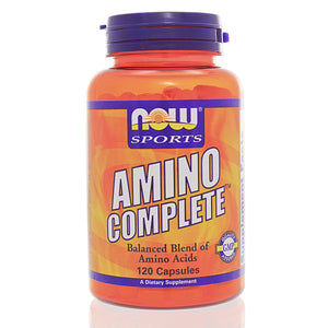 NOW Sports Amino Complete Balanced Blend of Protein 120 Capsules Exp.07.21+ IHI NS