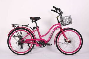 Xtreme Scooters Malibu Beach Elite Beach Cruiser Electric Bike Pink