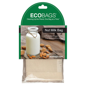 "ECOBAGS Cotton Bags Nut Milk Straining Bag with Drawstring 10""X 12"", Organic Cotton 229654 OC"