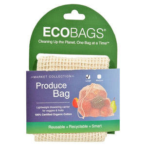 "ECOBAGS Organic Produce Bags Organic Cotton Net Produce Bag with Drawstring 12"" x 15"" 226579 OC"