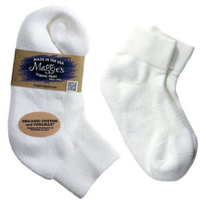 Maggie's Functional Organics Sport Socks Lowcut, White Size 9-11 218221 OC