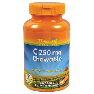 Thompson Vitamin C 250 Chewable, Orange Flavored 250 Mg 100 Chews 214519 OC