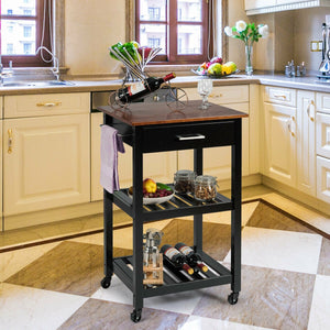 Kitchen Island Cart Multifunction Rolling Trolley Small Wood Cart HW61718 WC