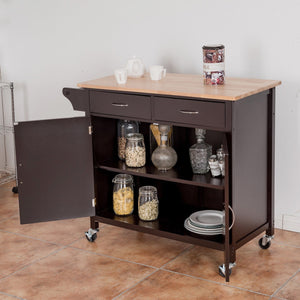 Modern Rolling Kitchen Cart Island with Wooden Top HW59426 WC