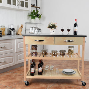 Rolling Kitchen Trolley Cart Island with Stainless Steel Countertop HW60457 WC