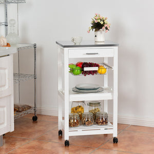 Rolling Kitchen Trolley Storage Basket and Drawers Cart HW60499 WC