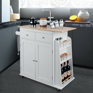 Rubber Wood Countertop Rolling Kitchen Island Cart KC50280 WC