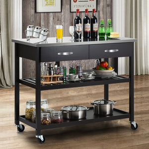 Stainless Steel Rolling Kitchen Island Trolley Cart HW60458 WC