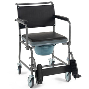 Medical Transport Toilet Commode Wheelchair with Locking Casters SP36344 WC