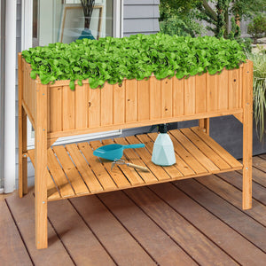 Wooden Elevated Planter Box Shelf Suitable For Garden Use GT3417 WC