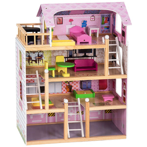 Kids Wood Dollhouse Cottage PlaySet with Furniture TY325134 WC