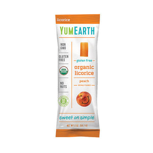 YumEarth Gluten-Free Peach Licorice Packs 2 oz 231960 2 PACK OC