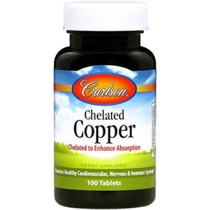 Carlson Labs Chelated Copper, Supporting Cardiovascular Health, 5 Mg 100 Tablets - NutritionalInstitute.com
