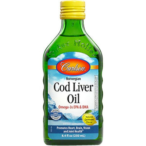 Carlson Labs Cod Liver Oil Lemon Supports A Balanced And Healthy Immune System Healthy Joints And Joint Movement 8.4 Flood Ounces - NutritionalInstitute.com