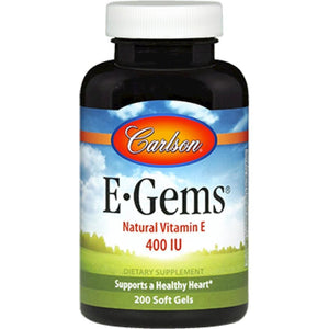 Carlson Labs Egems Supports A Healthy Heart, Optimal Wellness 400 IU 200 Softgels