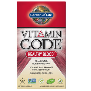 Garden of Life Vitamin Code Healthy Blood 60 Vegan Capsules Exp.5.21 IHI - NutritionalInstitute.com