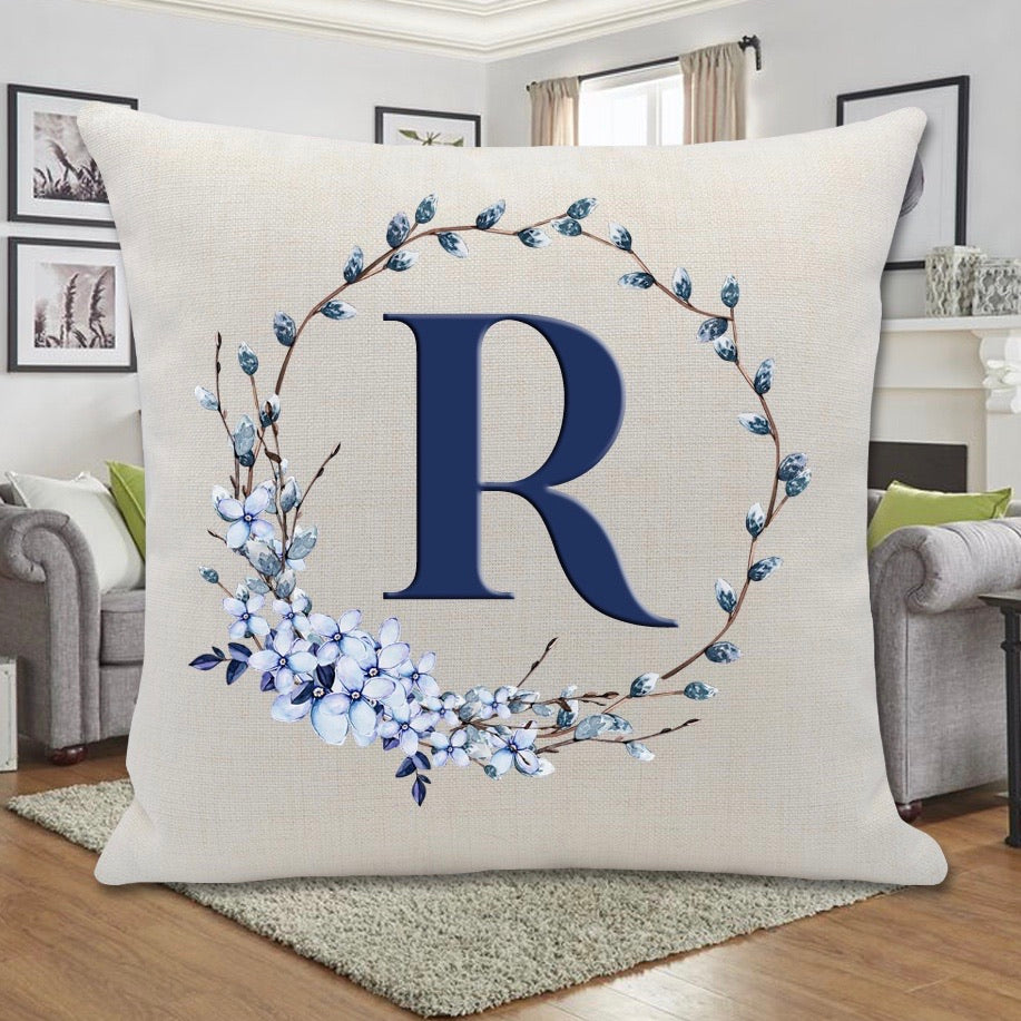 BLUE WILLOW WREATH PILLOW
