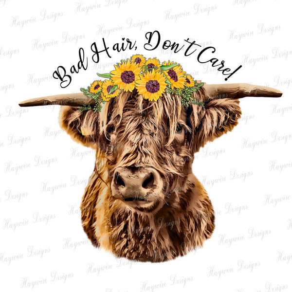 HIGHLAND COW / BAD HAIR DON'T CARE - Worded & Non Worded Files