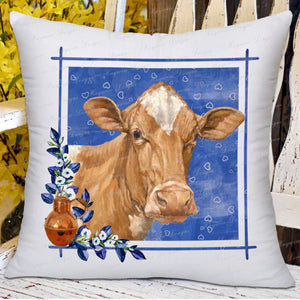 "GUERNSEY COW PILLOW - Blue 18""  Free Ship"