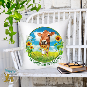JERSEY COW SUNFLOWER - Non Worded & Worded With AN UDDER DAY IN PARADISE