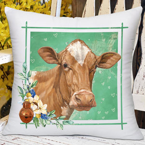 "GUERNSEY COW PILLOW - Green 18""  Free Ship"