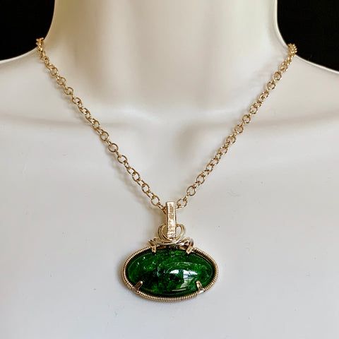 HANDMADE RUSSIAN CHROME DIOPSIDE IN 14k GF PENDANT
