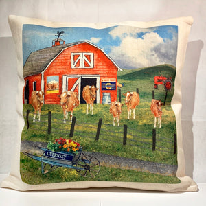 GUERNSEY COW SCENE PILLOW
