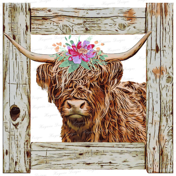 HIGHLAND COW ~ With/Without Glitter Wording