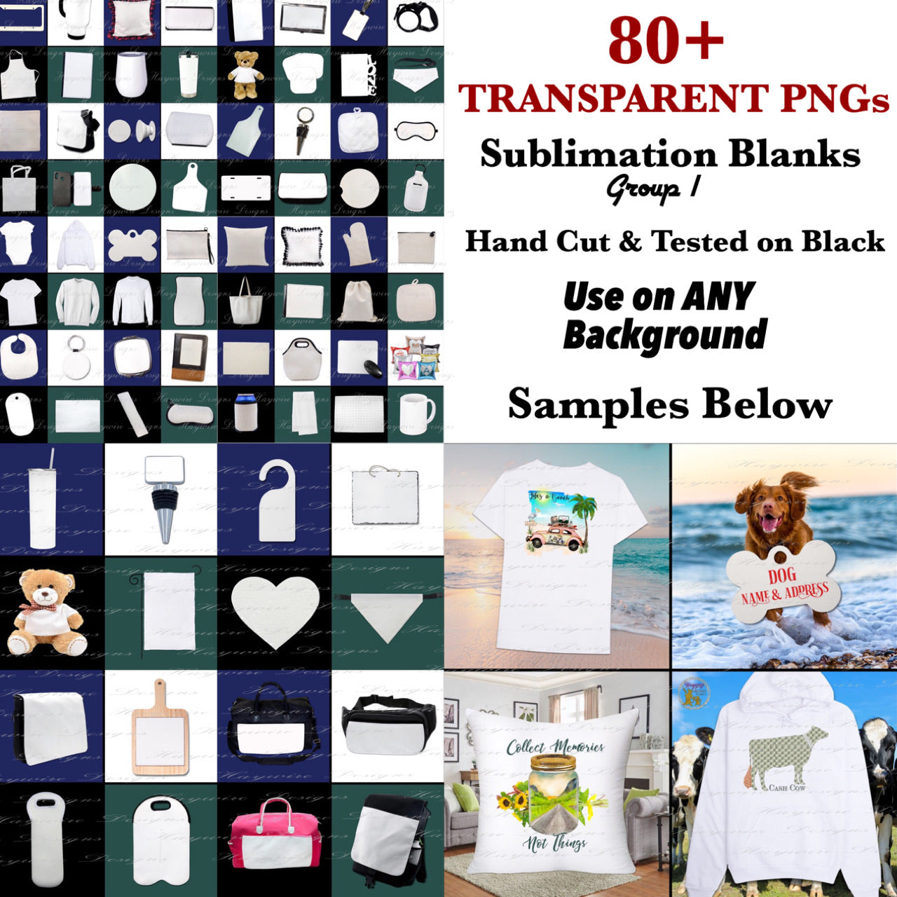 80 TRANSPARENT & DROP SHADOWED SUBLIMATION BLANKS - Hand Erased & Tested on Black