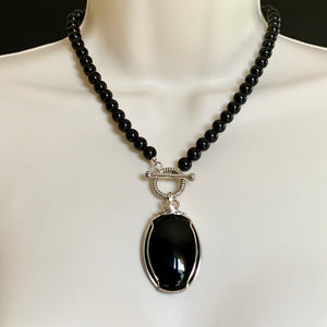 HANDMADE STERLING SILVER NATURAL  BLACK ONYX NECKLACE