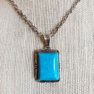 SS RECTANGULAR TURQUOISE PENDANT (Choose a Chain)