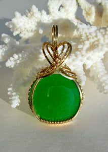 NATURAL JADITE IN 14k GF PENDANT