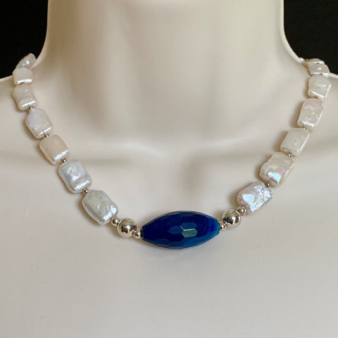 HANDMADE STERLING SILVER NATURAL PEARL AND BLUE AGATE NECKLACE