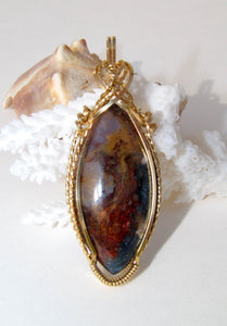 NATURAL PIETERSITE IN 14k GF PENDANT