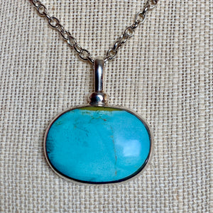SS HEAVY  OVAL TURQUOISE PENDANT (Choose a Chain)