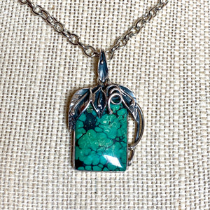 SS SQUARE DECORATIVE TURQUOISE PENDANT (Choose a Chain)