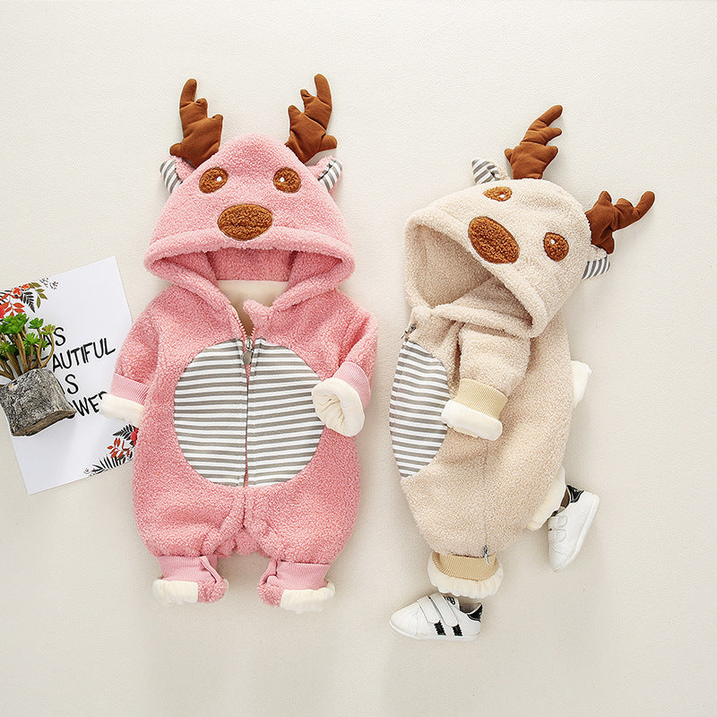 Baby Cute 3D Deer Ears Long-sleeve Hoodie Rompers