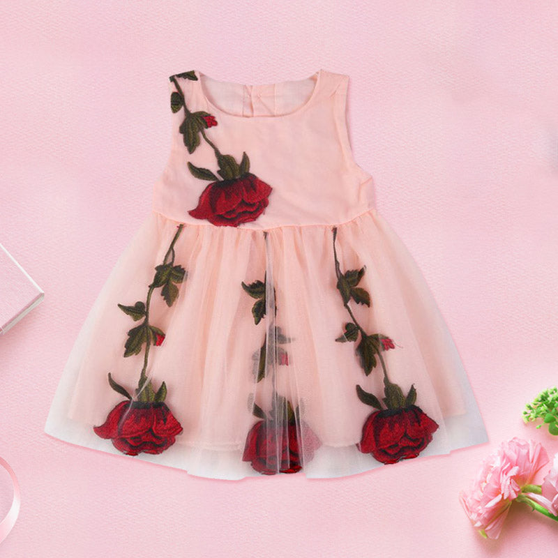 Girls Christening Rose Tulle Princess Dress