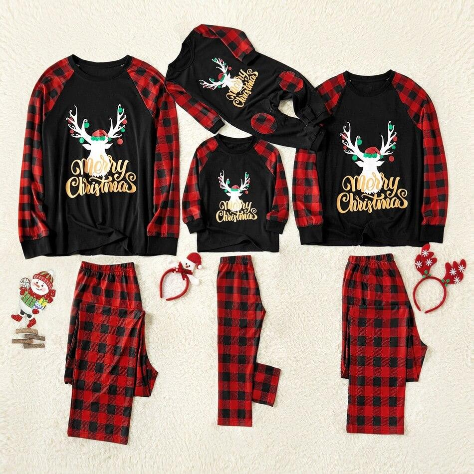 Merry Christmas Letter Antler Print Plaid Splice Matching Pajamas Set 822
